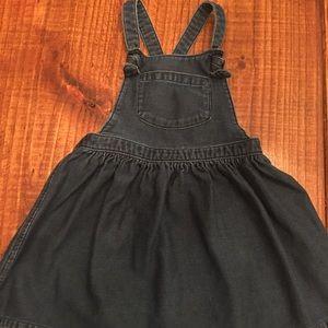 Dark chambray overall dress